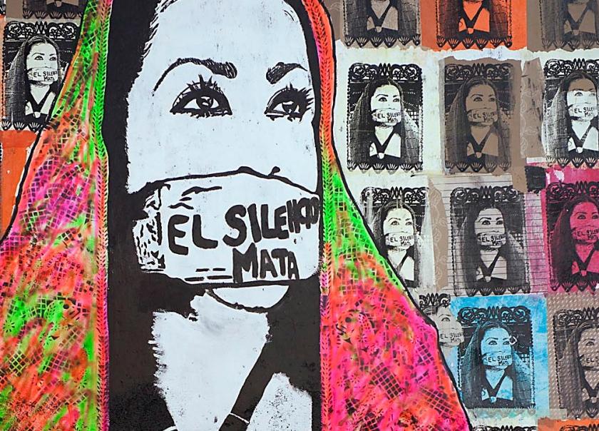 El Silencio Mata. Silence kills. Oaxaca mural.